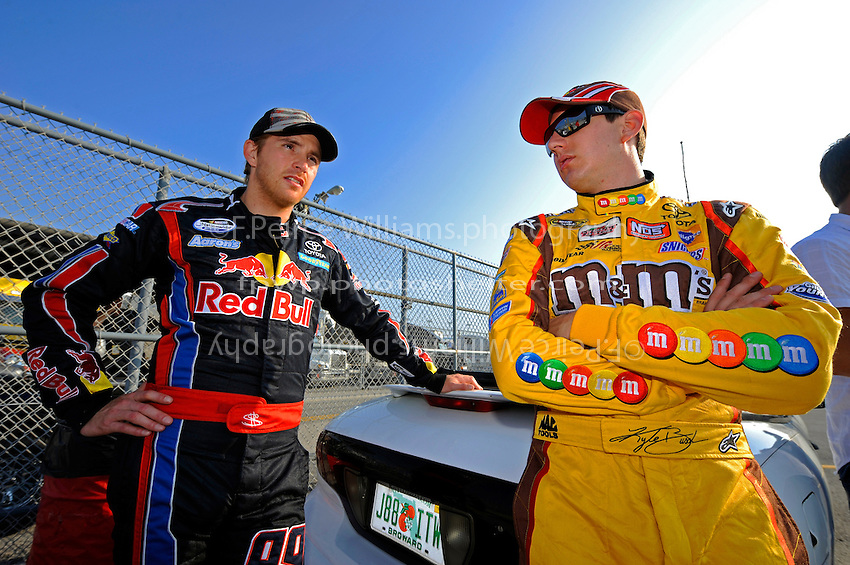 4 July, 2009, Daytona Beach, Florida USA.Teammates for a day, Scott Speed and Kyle Busch..©2009 F.Peirce Williams, USA.
