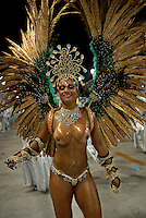 A dancer from Beija Flor samba school performs at the Sambadrome during the samba school parade in Rio de Janeiro, Brazil, February 22, 2009.