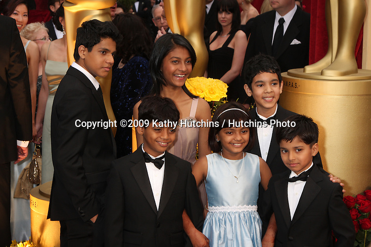children who played various ages of the Slumdog Millionaire childhood  arriving at the 81st Academy Awards at the Kodak Theater in Los Angeles, CA  on.February 22, 2009.©2009 Kathy Hutchins / Hutchins Photo...                .