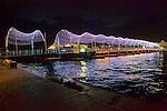 View Of Floating Foot Bridge At Night Connecting Punda & Otrobanda