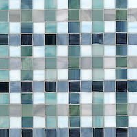 Bonnie, a jewel glass mosaic field shown in Marcasite, Zircon, Pearl, Jade, Amazonite, Serpentine, Turquoise, Mica and Peacock Topaz, is part of the Plaids and Ginghams Collection by New Ravenna Mosaics.