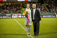 USWNT goalkeeper Hope Solo is recognized for her 100th cap. USWNT played played a friendly against Canada at JELD-WEN Field in Portland, Oregon on September 22, 2011.