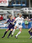 2 December 2005: Penn State's Allie Long (18) is guarded by Portland's Lisa Sari (2). The University of Portland Pilots defeated the Penn State Nittany Lions 4-3 on penalty kicks after the teams played to a 0-0 overtime tie in their NCAA Division I Women's College Cup semifinal at Aggie Soccer Stadium in College Station, TX.