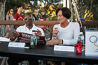 Stanford, Ca - October 8, 2016: Jamill Kelley, Olympian wrestler, and Susan Heon-Preston, Olympian swimmer,  before the Stanford vs. Washington State game Saturday night at Stanford Stadium. <br /> <br /> Washington State won 42-16.