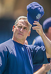 22 June 2013: San Diego Padres Manager Bud Black watches batting practice prior to a game against the Los Angeles Dodgers at Petco Park in San Diego, California. The Dodgers defeated the Padres 6-1 in the third game of their 4-game Divisional Series. Mandatory Credit: Ed Wolfstein Photo *** RAW (NEF) Image File Available ***