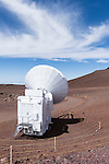 Mauna Kea, Big Island of Hawaii, Hawaii; a Submillimeter Radio Telescope located at the summit of the Mauna Kea Observatories (MKO), currently there are 13 independent multi-national astronomical research facilities located on the summit. Mauna Kea's altitude and isolation in the middle of the Pacific ocean make it an ideal location for astronomical observation.