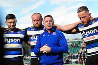 Bath Rugby Head Coach Mike Ford speaks to his players after the match. Aviva Premiership match, between Bath Rugby and Sale Sharks on April 23, 2016 at the Recreation Ground in Bath, England. Photo by: Patrick Khachfe / Onside Images