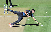 17.02.2015. Dunedin, New Zealand.  Tim Southee goes for a catch during the ICC Cricket World Cup match between New Zealand and Scotland at university oval in Dunedin, New Zealand.