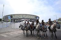 Police horses gather outside the Arena Fonte Nova, Salvador