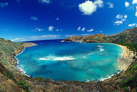 View from the top of Hanauma bay, named as a State Underwater Park and Conservation District, is an excellent place to snorkel and swim