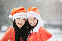 No Repro Fee. 2/12/2010.Meteor's new UK and International call rates. Models Irma and Yomiko were in festive form as they launched Meteor's new UK and International call rates. Meteor is now offering customers the best value for calls to the UK for just 10 cent per minute to mobile and landlines. Meteor also announced its new international call rates of just 15 cent per minute to 45 countries worldwide.To get these rates just text 'International' to 50104. Picture James Horan/Collins