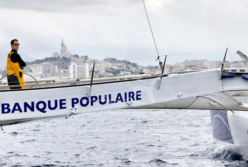 Armel Le Cléac'h and the Maxi Trimaran Solo Banque Populaire VII Trans at the start of the record attempt  Marseille – Carthage.