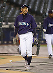 Seattle Mariners Ichiro Suzuki carries his bats before their game against the Oakland Athletics in the opening home game of the season against the Oakland Athletics at SAFECO Field in Seattle April 12, 2010. The Athletics beat the Mariners 4-0. Jim Bryant Photo. &copy;2010. ALL RIGHTS RESERVED.