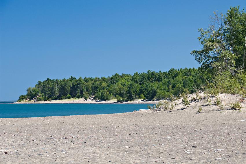 Lake Superior beach at McLain State Park near Houghton Michigan.