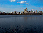 Sky line of buildings against central park lake. Images of New York 2004, New York,U.S.A
