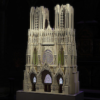 Model of the facade of the Cathedrale Notre-Dame de Reims or Reims Cathedral, made c. 1960 by an unknown man, discovered in an attic and restored in 2012 by Georges Burigana, Reims, Champagne-Ardenne, France. The model is made of plastic and wood and is 2.35m high, 1.50m wide and 0.75m deep, weighs 80kg and would have taken 700 hours to make. The 13th century Gothic cathedral was listed as a UNESCO World Heritage Site in 1991. Picture by Manuel Cohen