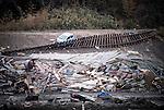 A section of the Sanriku Railway line lies torn from its sleepers near Miyako, Iwate Prefecture, Japan on 03 April 2011.  Photographer: Robert Gilhooly