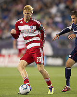FC Dallas midfielder Brek Shea (20) passes the ball. In a Major League Soccer (MLS) match, the New England Revolution defeated FC Dallas, 2-0, at Gillette Stadium on September 10, 2011.