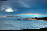 Bushmills, Northern Ireland, United Kingdom, May 2011. the rainbow hangs over Rathlin Island. For decades travellers stayed away from the sectarian violence, but since the end of'The Troubles' more and more people start discoving the beauty of Belfast and the Antrim Coast Causeway. Photo by Frits Meyst/Adventure4ever.com