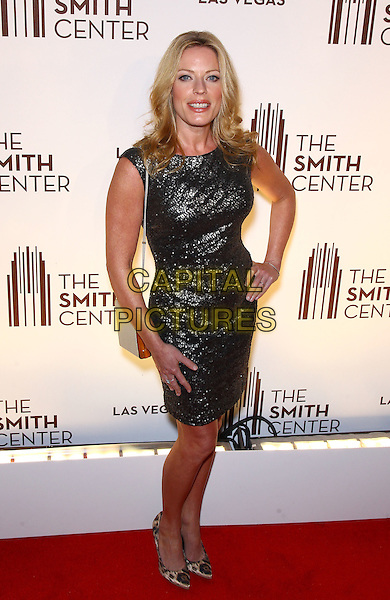 Sherie Rene Scott.Grand opening of The Smith Center for the Performing Arts, Las Vegas, Las Vegas, Nevada, USA, .10th March 2012..full length silver shiny dress grey gray hand on hip .CAP/ADM/MJT.© MJT/AdMedia/Capital Pictures.