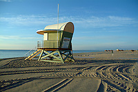 Lifeguard tower at Leucate Plage, France just after sunrise.