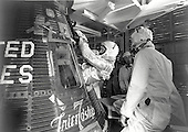 "Project Mercury astronaut John H. Glenn, Jr., enters the Mercury-Atlas 6 (MA-6) ""Friendship 7"" spacecraft during the last part of the countdown at Cape Canaveral, Florida on February 20, 1962. At 9:47 a.m. (EST), the Atlas launch vehicle lifted the spacecraft into orbit for a three-orbit mission lasting 4 hours, 55 minutes and 23 seconds. Glenn and his spacecraft were recovered by the destroyer U.S.S. NOA just 21 minutes after landing in the Atlantic Ocean near Grand Turk Island, to successfully complete the nation's first manned orbital flight..Credit: NASA via CNP"