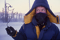 Minus 40 below zero, freezes remote plastic cord for camera, Fairbanks, Alaska.