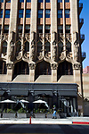 Front extrior view of the Ace Hotel on Broadway in Downtwon Los Angeles, California