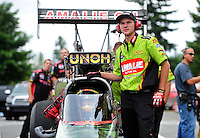Aug. 5, 2011; Kent, WA, USA; NHRA top fuel dragster car chief Austin Lambright for driver Terry McMillen during qualifying for the Northwest Nationals at Pacific Raceways. Mandatory Credit: Mark J. Rebilas-