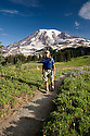 WA03252-00....WASHINGTON - Trail on on Mazama Ridge in Mount Rainier National Park.