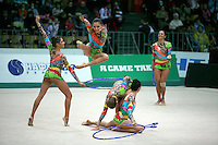 """Rhythmic group from Brazil performs hoops + clubs routine at 2008 World Cup Kiev, """"Deriugina Cup"""" in Kiev, Ukraine on March 22, 2008."""