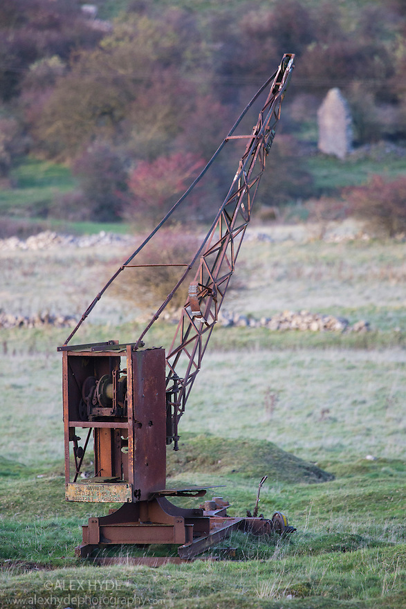 Abandoned crane from historical lead mining industry, Bonsall, Peak District National Park, Derbyshire, UK.