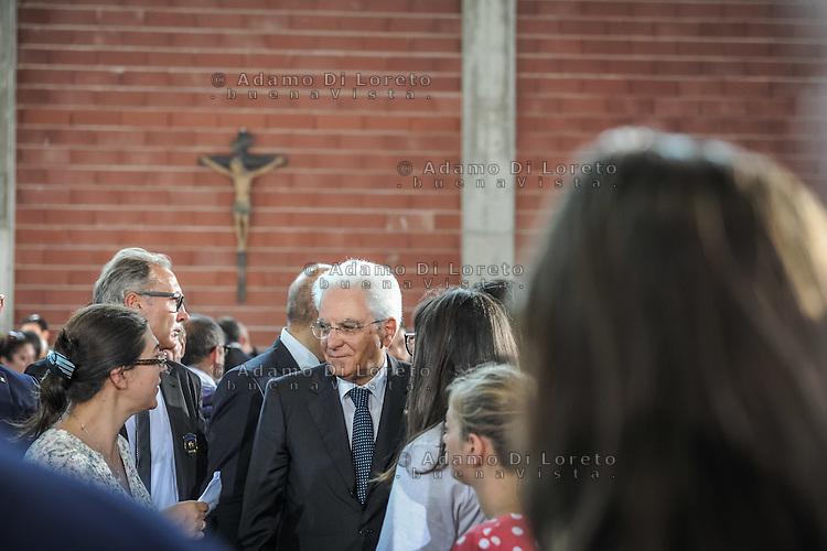 The President Sergio Mattarella at the Funeral earthquake on PalaSport Monticelli in Ascoli Piceno  August 27, 2016, in Marche, Italy. Photo by Adamo Di Loreto