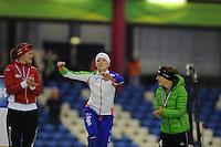SCHAATSEN: HEERENVEEN: 25-10-2013, IJsstadion Thialf, NK afstanden, podium 1500m, Lotte van Beek, Jorien ter Mors, Ireen Wüst, ©foto Martin de Jong