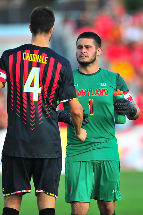 GK Cody Niedermeiert talk things over with Alex Crognale prior to the match against Penn State during an NCAA D-1 soccer match at Ludwig Field in College Park, MD on Sunday, September 18, 2016.  Alan P. Santos/DC Sports Box