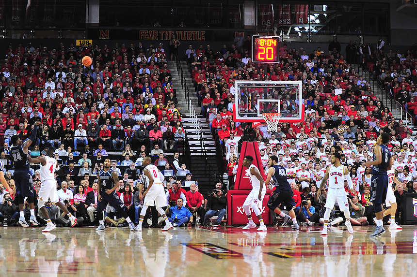 Hoyas' Marcus Derrickson shoots a long jumper. Maryland defeated Georgetown 75-71 during a game at Xfinity Center in College Park, MD on Wednesday, November 17, 2015.  Alan P. Santos/DC Sports Box