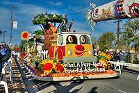 Floats for the New Year's Day Tournament of Roses Parade evolved from flower-decorated horse carriages into floats. The floats are required to be covered with plant material, living or dead. Visit http://david-zanzinger.artistwebsites.com/ for galleries