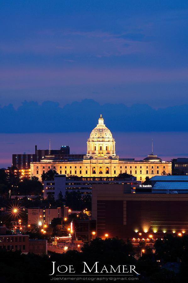 Minnesota state capitol building at dusk.