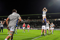 A general view of the pre-match warm-up. European Rugby Challenge Cup match, between Pau (Section Paloise) and Bath Rugby on October 15, 2016 at the Stade du Hameau in Pau, France. Photo by: Patrick Khachfe / Onside Images