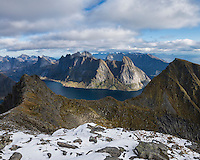 View across mountains and fjords from the summit of Munken, Moskenesøy, Lofoten Islands, Norway
