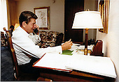 United States President Ronald Reagan telephones various Members of Congress in Washington, D.C. from his room at the Century Plaza Hotel in Los Angeles, California regarding the budget on Saturday, July 25, 1981..Mandatory Credit: Michael Evans - White House via CNP