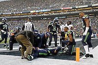 Jimmy Graham #88 of the Seattle Seahawks is tended to by team doctors after injuring his knee on an attempted pass in the end zone against the Pittsburgh Steelers in the second half during the game at CenturyLink Field on November 29, 2015 in Seattle, Washington. (Photo by Jared Wickerham/DKPittsburghSports)