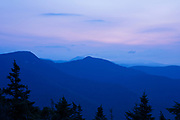 Morning blue hour from the summit of Mount Tecumseh in Waterville Valley, New Hampshire during the summer months.