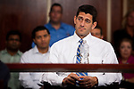 "Republican vice presidential candidate Rep. Paul Ryan holds a ""Roundtable On Entrepreneurship"" at University of South Florida in Tampa, Florida, October 19, 2012."