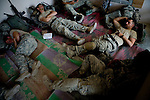 Members of the 82nd Airborne's 1/508, Alpha Company, Third Platoon sleep in Sangin, Helmand province, Afghanistan on Sunday, April 8, 2007.