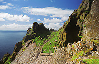 Historical Tourist Attraction Skellig Michael Cliffs with lonely tourist at sunny day, County Kerry, Ireland / sk039 I love the Skelligs,
