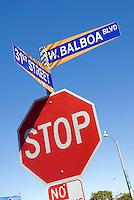 Stop sign 31st street, W. Balboa Blvd.