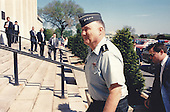 Before going to the White House for lunch with United States President George H.W. Bush, General H. Norman Schwarzkopf, recently returned from Saudi Arabia, stopped by the Pentagon for meetings with U.S. Secretary of Defense Dick Cheney and Chairman of the Joint Chiefs of Staff General Colin L. Powell on April 23, 1991.  Schwarzkopf, the Commanding General of the U.S. Central Command (CENTCOM), was the overall commander of allied coalition military forces in the Persian Gulf region during Operation Desert Shield / Storm.  Schwarzkopf passed away in Tampa, Florida on Thursday, December 27, 2012..Mandatory Credit: R.D. Ward / DoD via CNP
