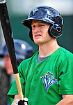 24 July 2010: Vermont Lake Monsters infielder Justin Miller awaits his turn in the batting cage prior to a game against the Lowell Spinners at Centennial Field in Burlington, Vermont. The Lake Monsters fell to the Spinners 11-5 in NY Penn League action. Mandatory Credit: Ed Wolfstein Photo