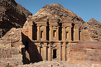 Monastery or Al-Deir, 1st century BC, Petra, Ma'an, Jordan. This was probably originally a Nabatean temple, maybe dedicated to King Obodas I and used as a hall for memorial feasts, but was later used as a Byzantine church or monastery. It sits in the mountains above Petra and is 50m high. Petra was the capital and royal city of the Nabateans, Arabic desert nomads. Picture by Manuel Cohen